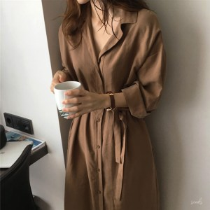 a new generation of women's long-sleeved cardigan in autumn and a long solid color women's shirt cardigan