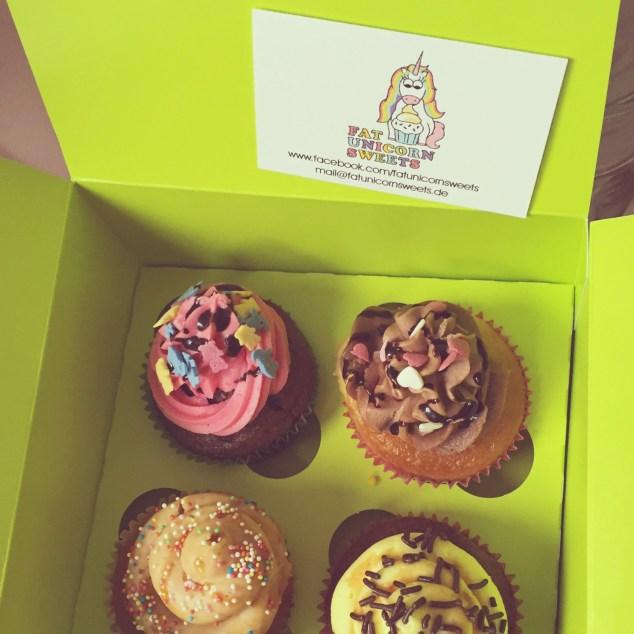 4 Cupcakes von #fatunicornsweets die den Sonntag versüßen werden.