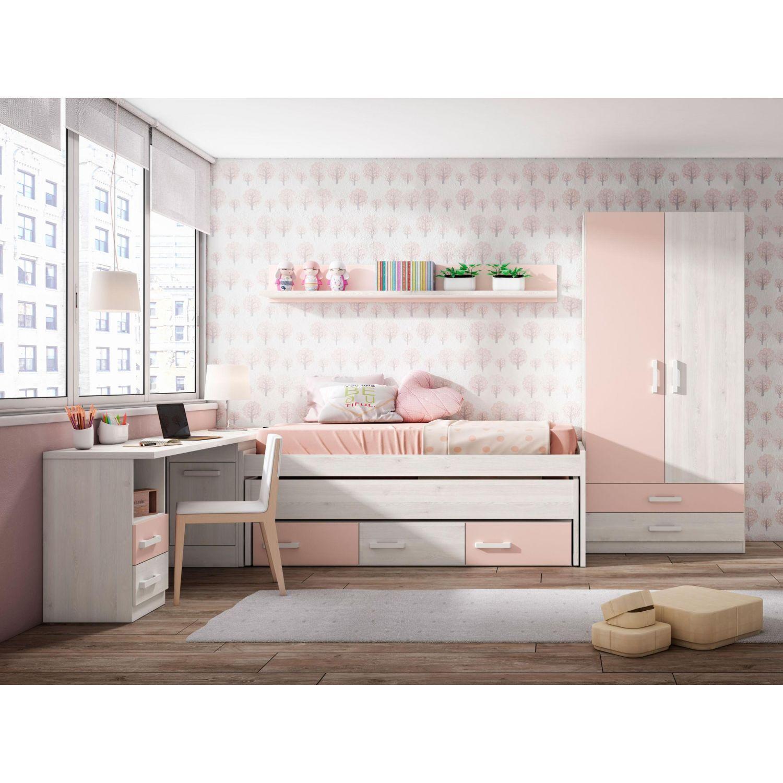 Dormitorio juvenil barato con dos camas opcional armario