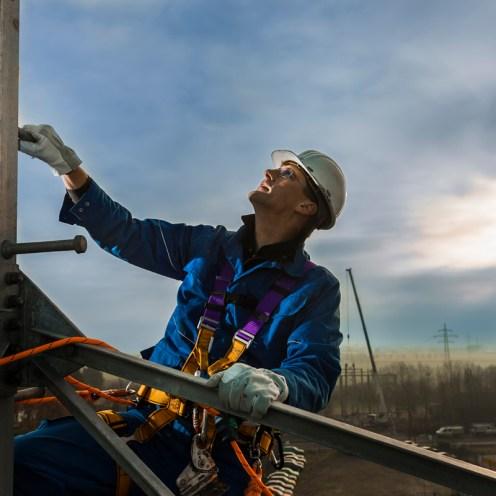 Kontrolle einer Maststockung in 40 Meter Höhe
