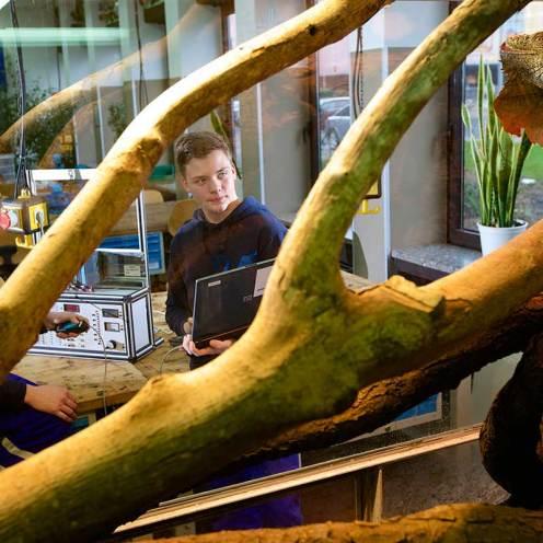 Intelligente Klimatechnik: automatisiertes Leguan-Terrarium im Ausbildungszentrum.