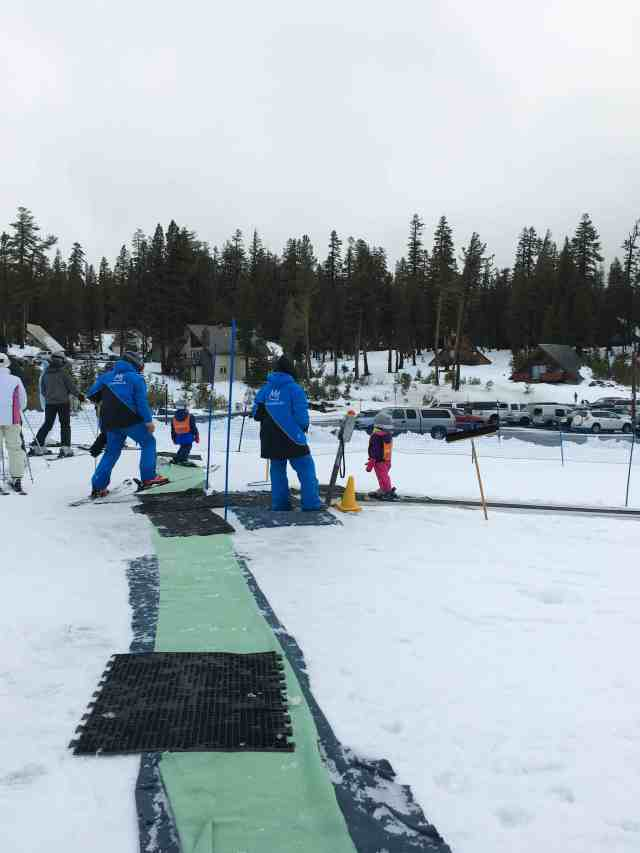 A short weekend trip to the Villages at Mammoth resort. Toddlers at ski school on the magic carpet.