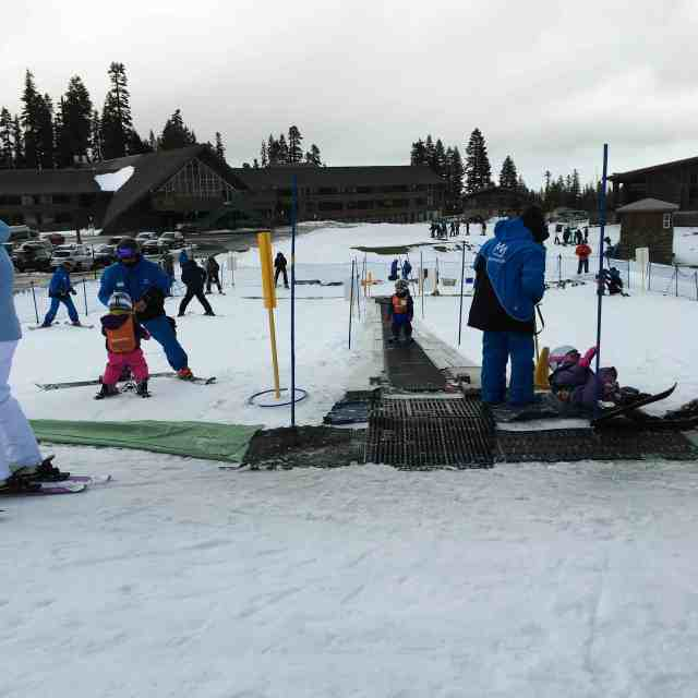 A short weekend trip to the Villages at Mammoth resort. Toddlers at ski school.