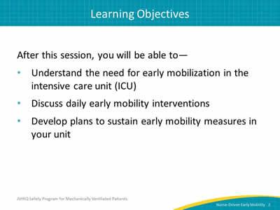 Nurse Driven Early Mobility Protocols Slide Presentation