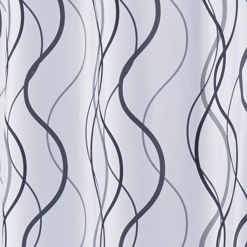 hookless waves polyester shower curtain w it s a snap replaceable liner 71x77 white grey black 12 per case price per each