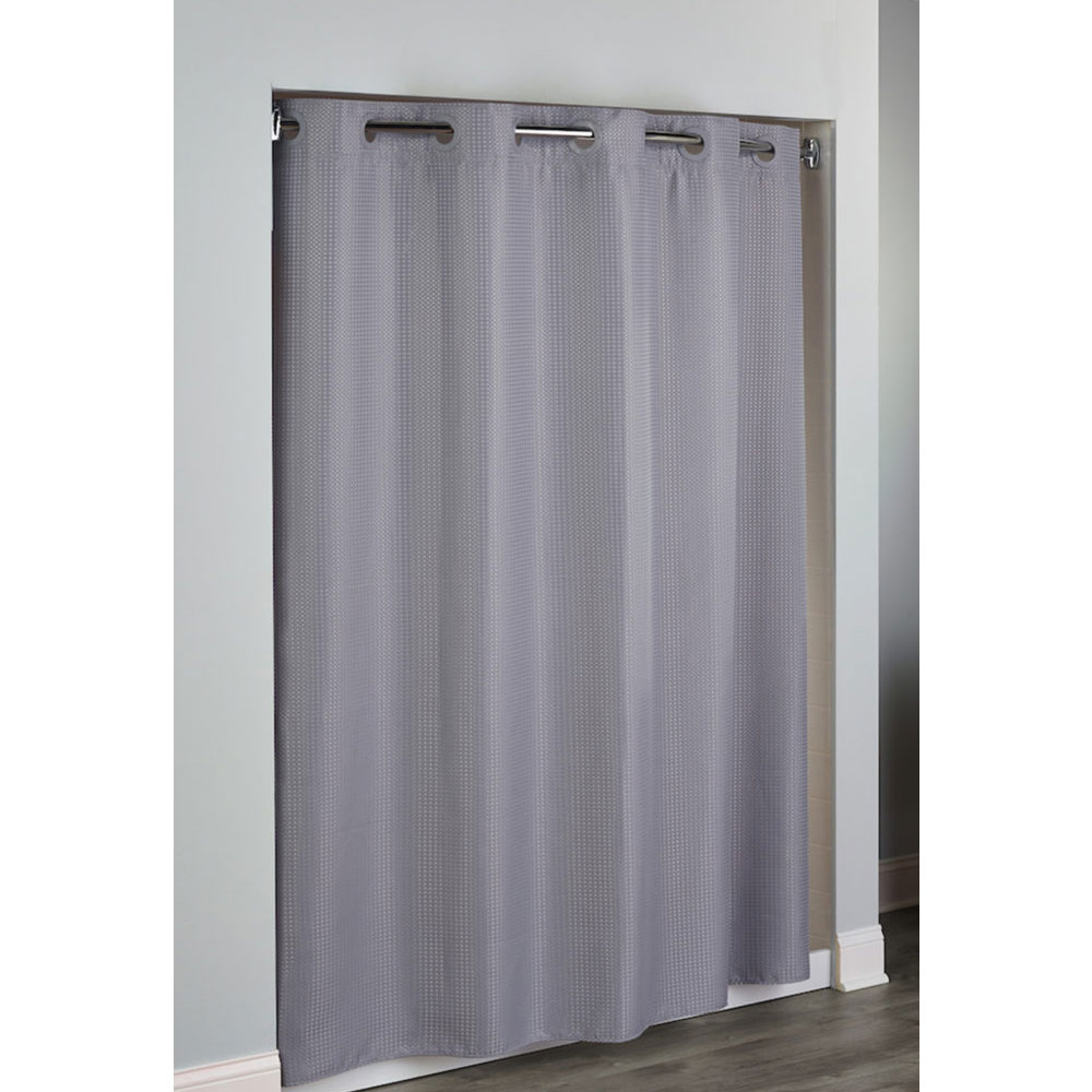 hookless hudson diamond waffle weave polyester shower curtain w it s a snap replaceable liner 71x77 frost grey 12 per case price per each