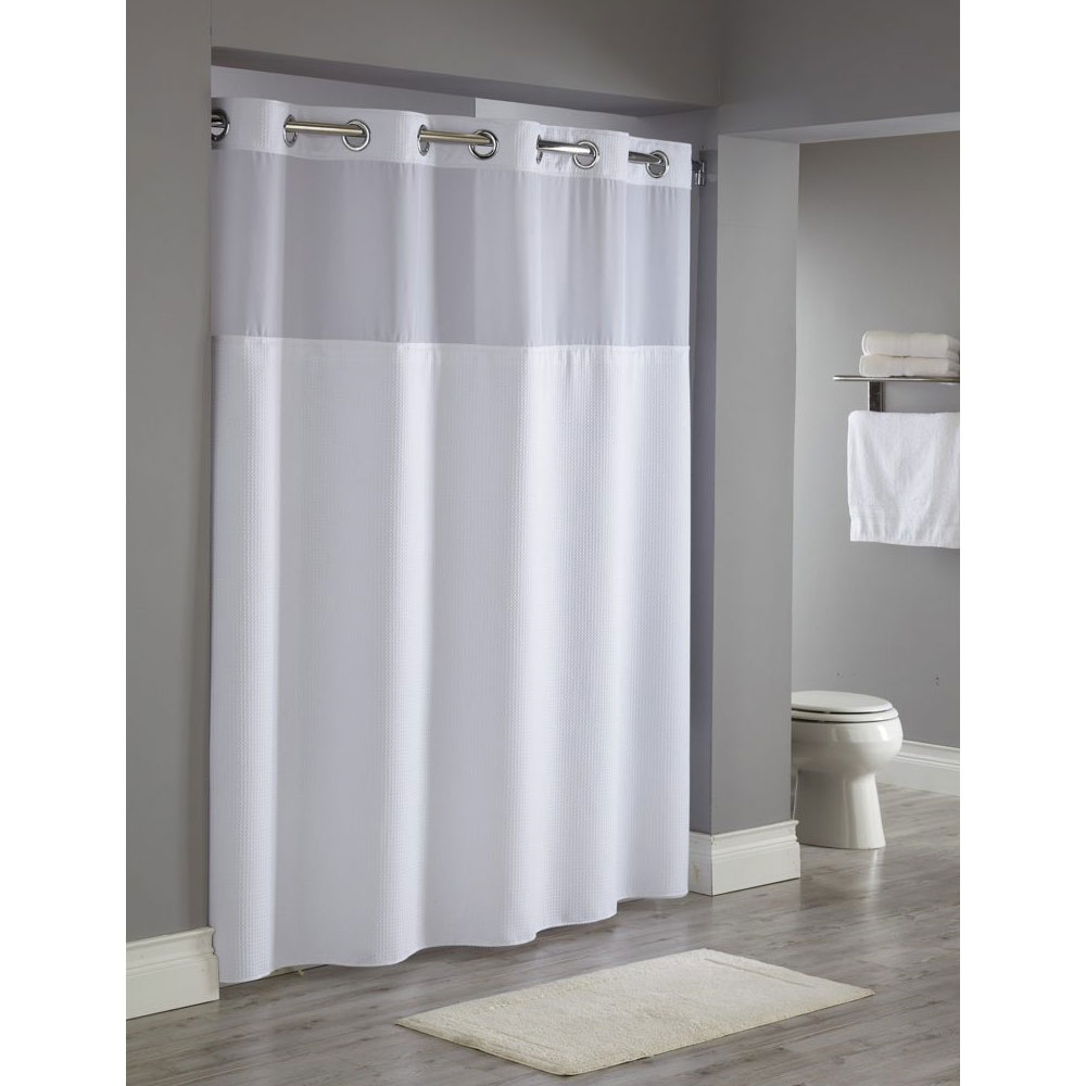 hookless reflection polyester shower curtain w window it s a snap replaceable liner 71x77 white 12 per case price per each