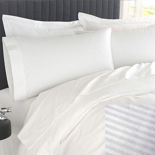 Martex Patrician T250 Stripe Duvet Cover Queen 94x94 60 Cotton 40 Polyester White 12 Per Case