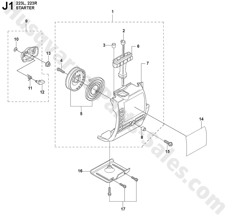 223R Husqvarna Brushcutter Starter (J1) Parts