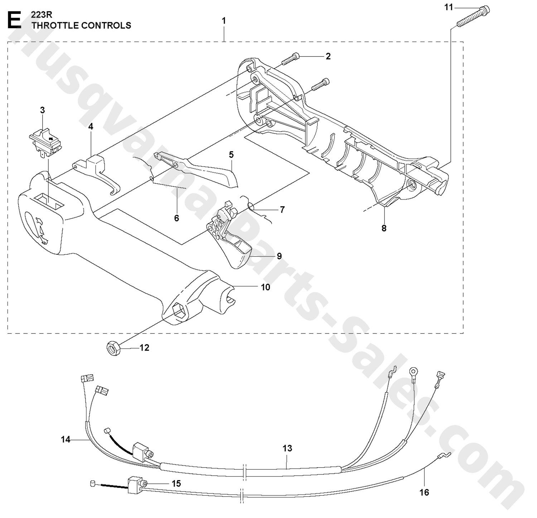 223R Husqvarna Brushcutter Throttle Controls Parts