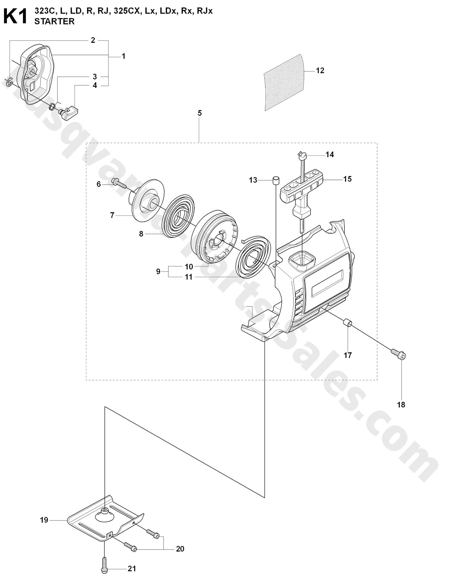 323R Husqvarna Brushcutter Starter (K1) Parts