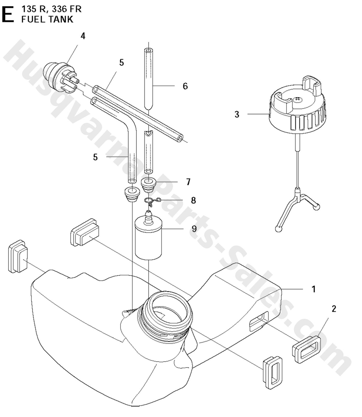 336FR Husqvarna Brushcutter Fuel Tank Parts