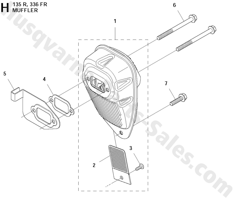 336FR Husqvarna Brushcutter Muffler Parts