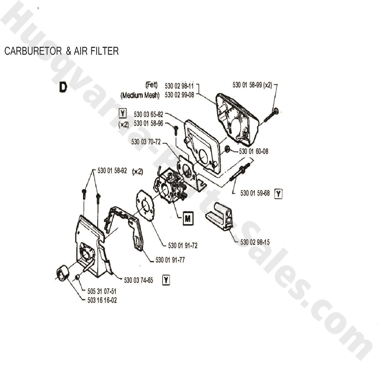41 Husqvarna Chain Saw Carburetor Amp Air Filter Parts