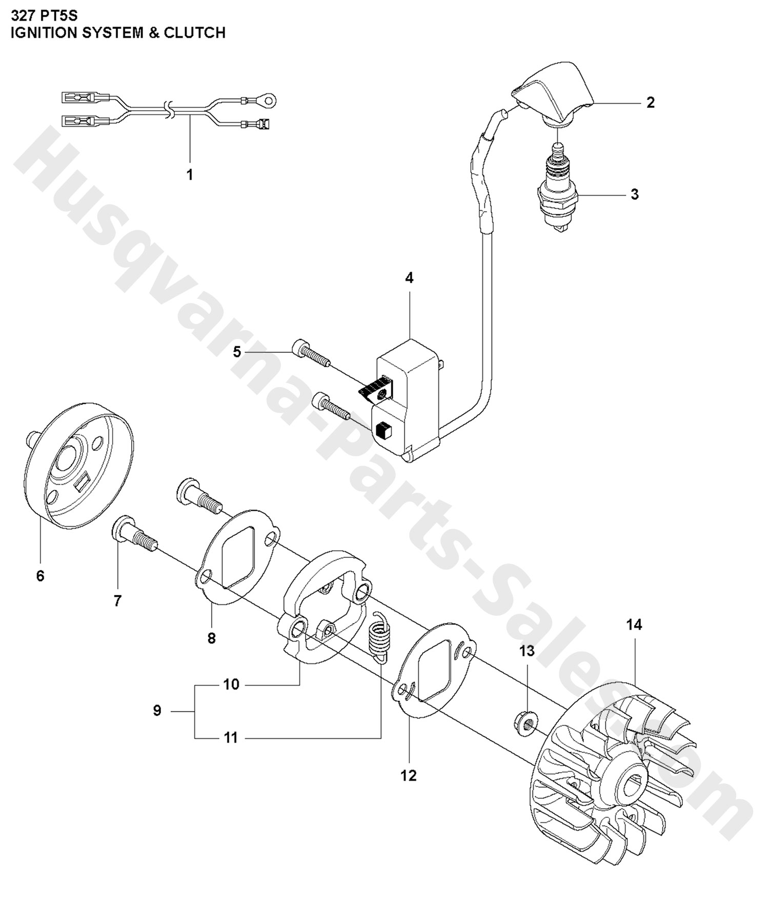 327PT5S Husqvarna Pole Saw Ignition System & Clutch Parts
