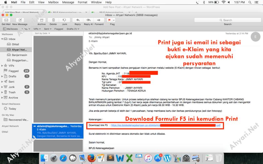 Email balasan bahwa E-Klaim telah memenuhi Persyaratan