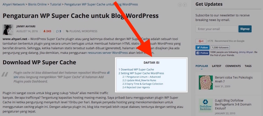 "Cara Membuat ""Table of Content"" di WordPress"