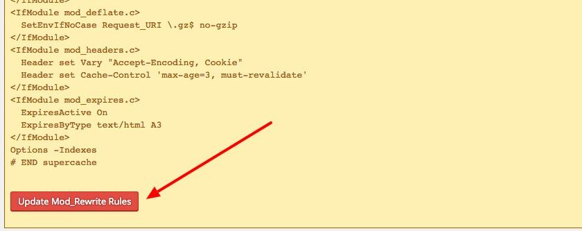 Update Mod Rewrite Rules WP Super Cache