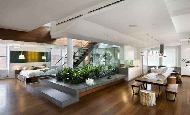Blesso Loft, Location: New York NY, Architect: Joel Sanders. Loft in penthouse in Nolita section of Manhattan with central light well and garden.