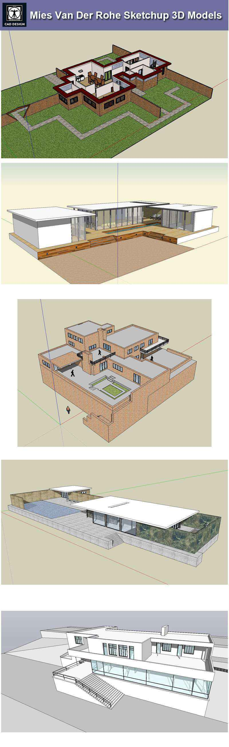 17 Projects Of Mies Van Der Rohe Architecture Sketchup 3d Models  # Muebles Mies Van Der Rohe Autocad