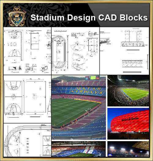 ☆【Stadium CAD Blocks-Stadium,Gymnasium, track and field