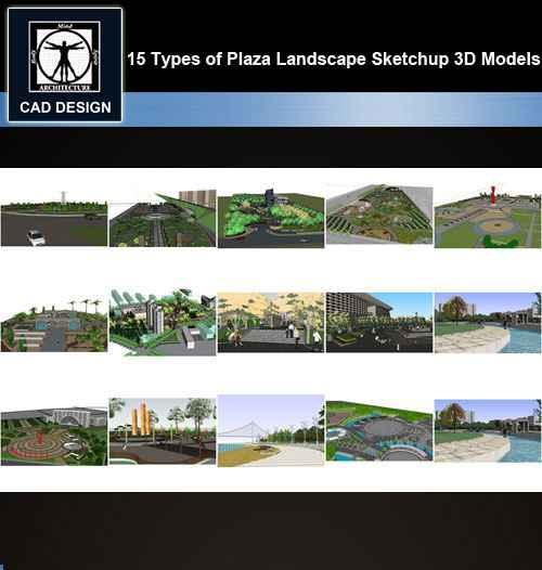 ★【Sketchup 3D Models】15 Types of Plaza Landscape Sketchup 3D Models V 3