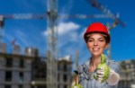 Woman in a red hard hat