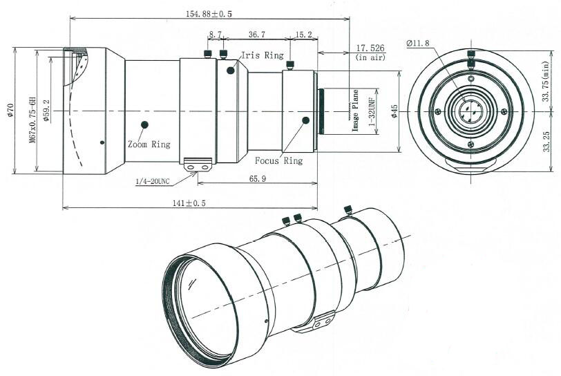 f30mm to f120mm C mount manual iris zoom vari-focal lens