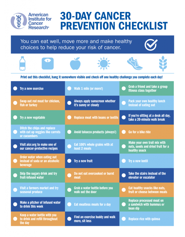 Cancer Prevention Checklist