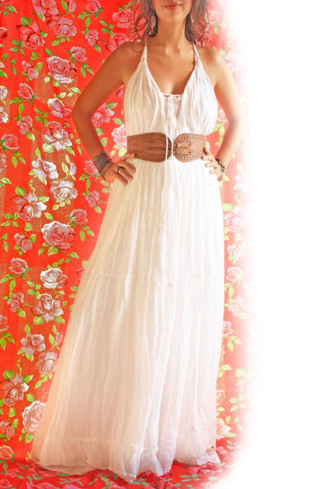 Handmade Mexican embroidered dresses and vintage treasures from Aida Coronado Maxi dress cotton