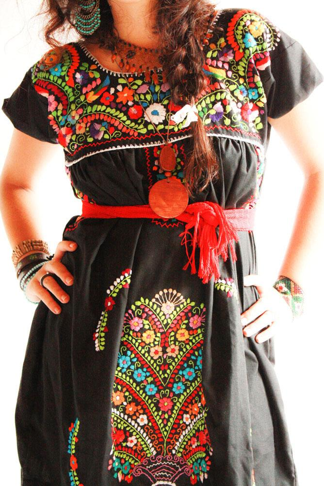 Handmade Mexican embroidered dresses and vintage treasures from Aida Coronado Mexican dress slim