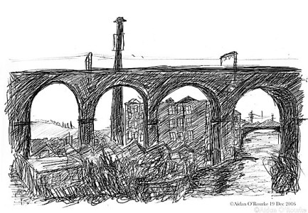 My sketch of Stockport Viaduct from my 1980s photo