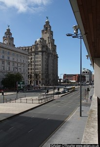 Cunard and Liver Buildings seen across The Strand