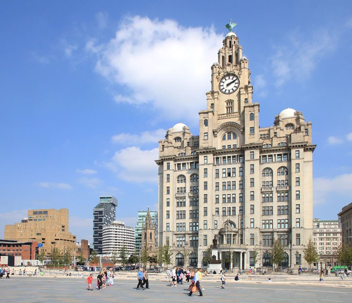 Liverpool Liver Building and Pier Head with St Nicholas church