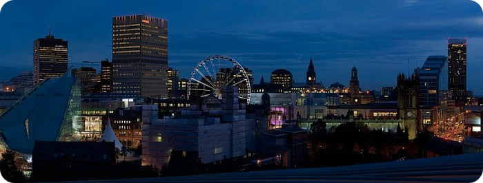 Manchester Arena dusk panorama
