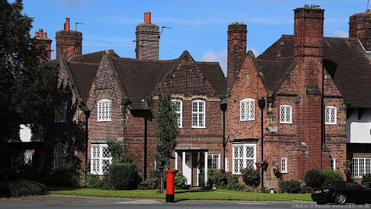 Port Sunlight houses and red post box