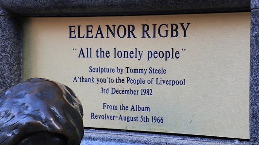"""Eleanor Rigby """"All the lonely people"""" sign"""