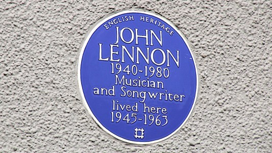 English Heritage blue plaque John Lennon 1940-1980 Musician and Songwriter lived here 1945-1963