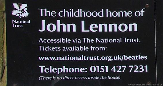 John Lennon childhood home sign