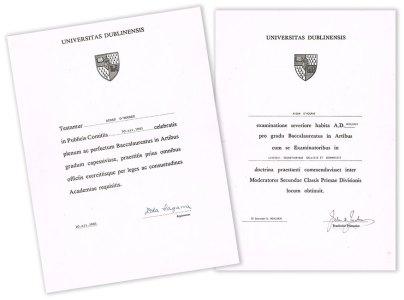 Graduation certificates TCD