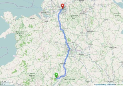 Route Cinderford-to Manchester