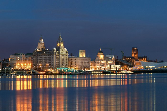 Liverpool Waterfront seen from across the river Mersey at dusk