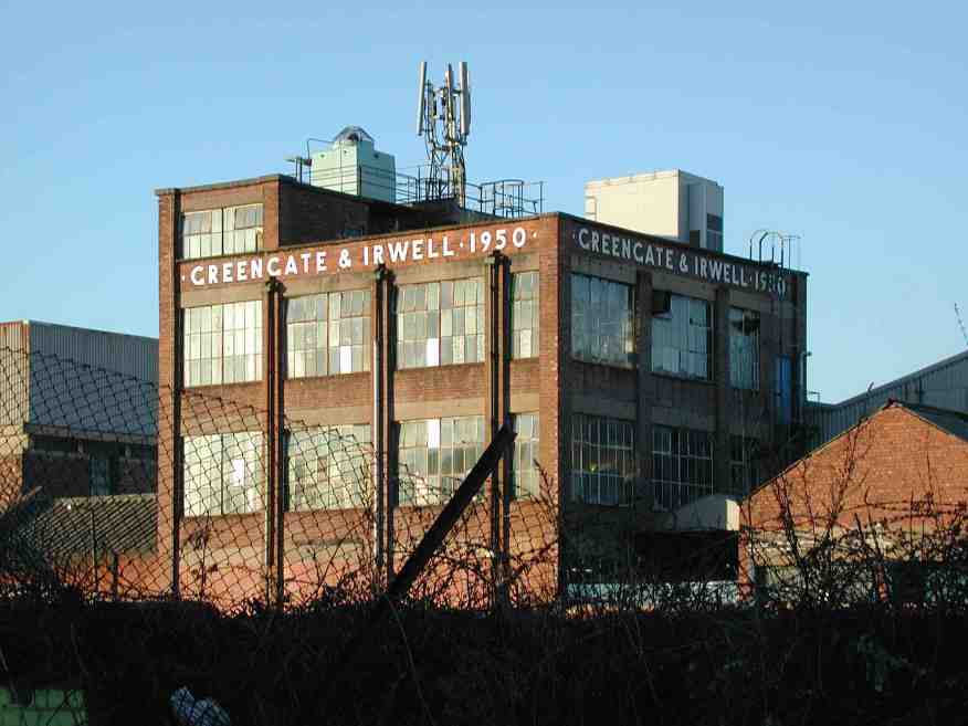 The iconic Greengate & Irwell 1950 industrial building in 2003. It has since been demolished.
