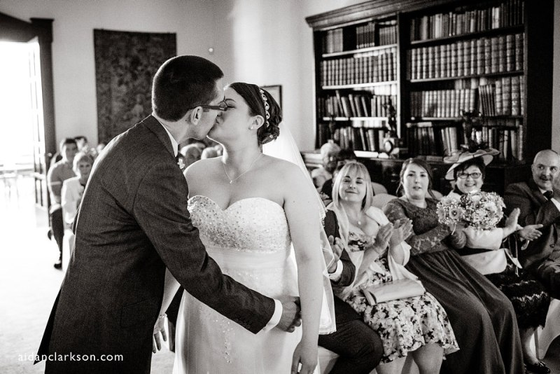 the first kiss at a hemswell court wedding