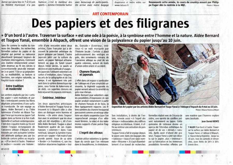 Newspaper article in l'Alsace