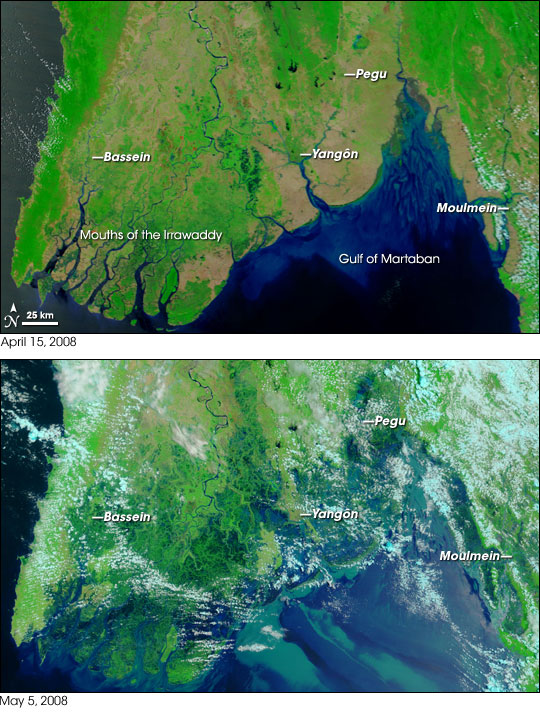 Irrawaddy River delta in Myanmar before Cyclone Nargis: April 15, 2008