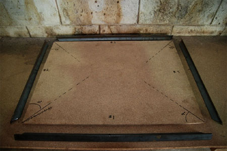 A pre-measured template is used to cut the pieces to form the outer bracket