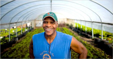 Will Allen at Growing Power's farm in Milwaukee.