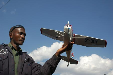 Philip Isohe and his gorgeous model airplane