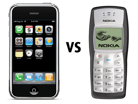 iPhone vs Nokia 1100